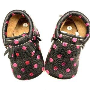 Baby Metallic Pink Polka Dot Black Moccasins Shoes